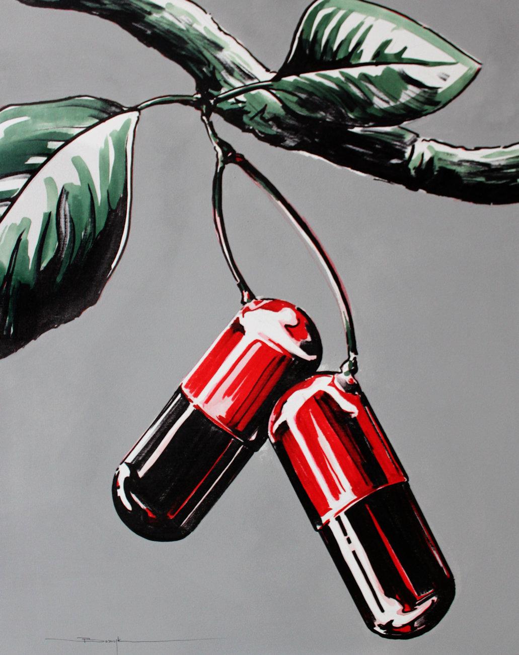 """""""GMO fruit"""" akryl + flamaster na płótnie 80x65, 2010"""
