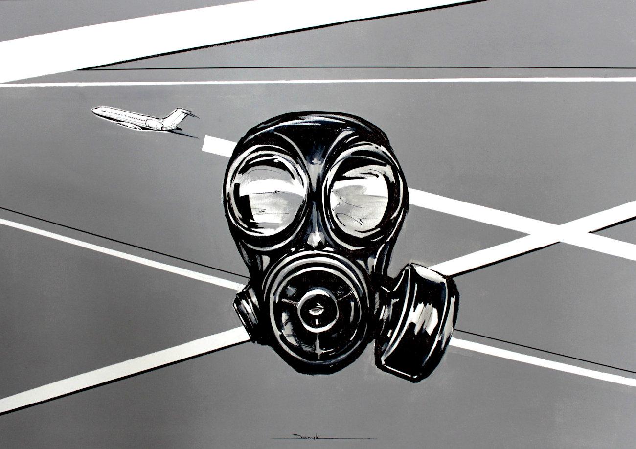 """""""Chemtrails"""" akryl + flamaster na płótnie 81x57, 2011"""