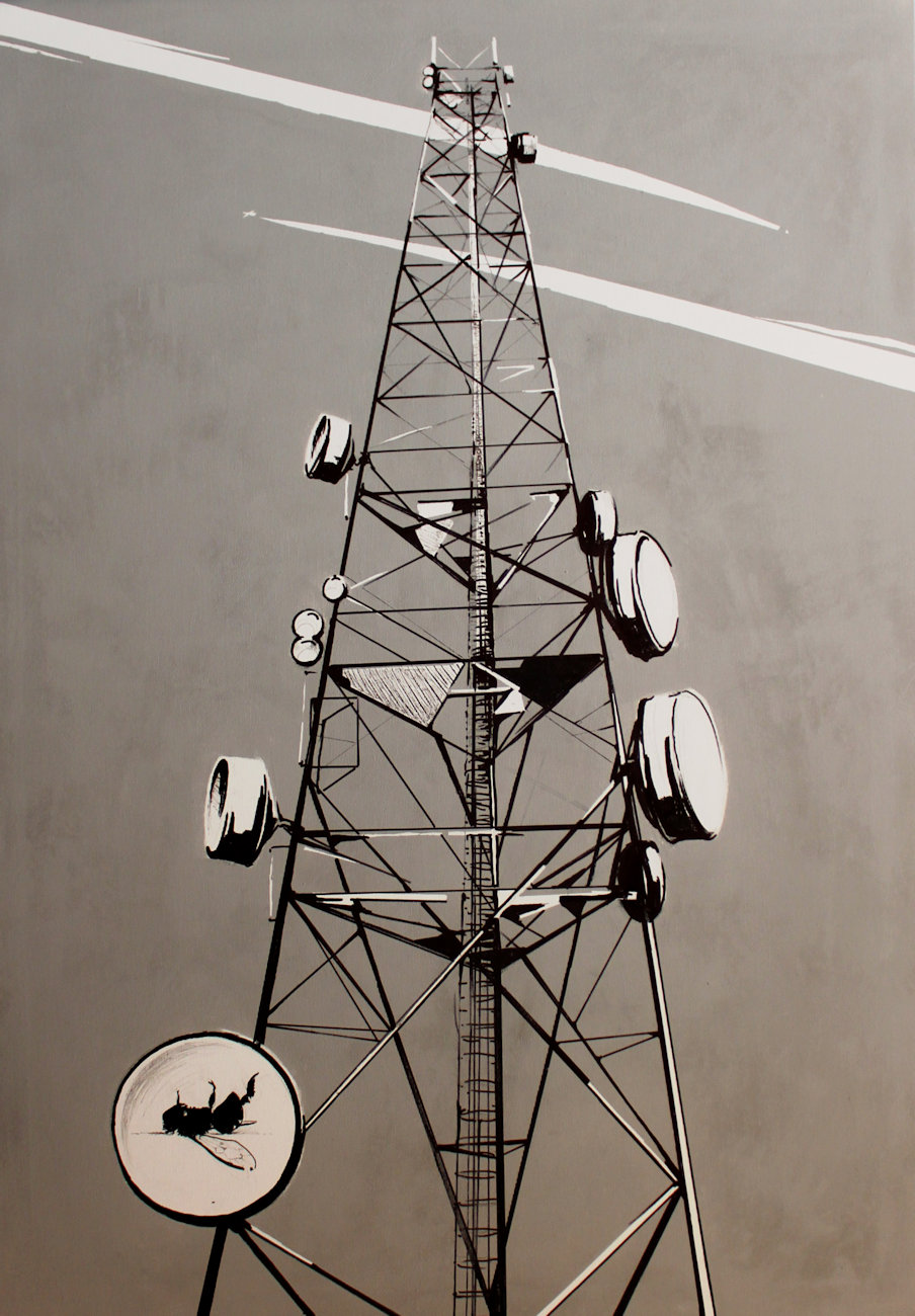 """""""Elektrosmog"""" akryl + flamaster na płótnie 100x70, 2012"""