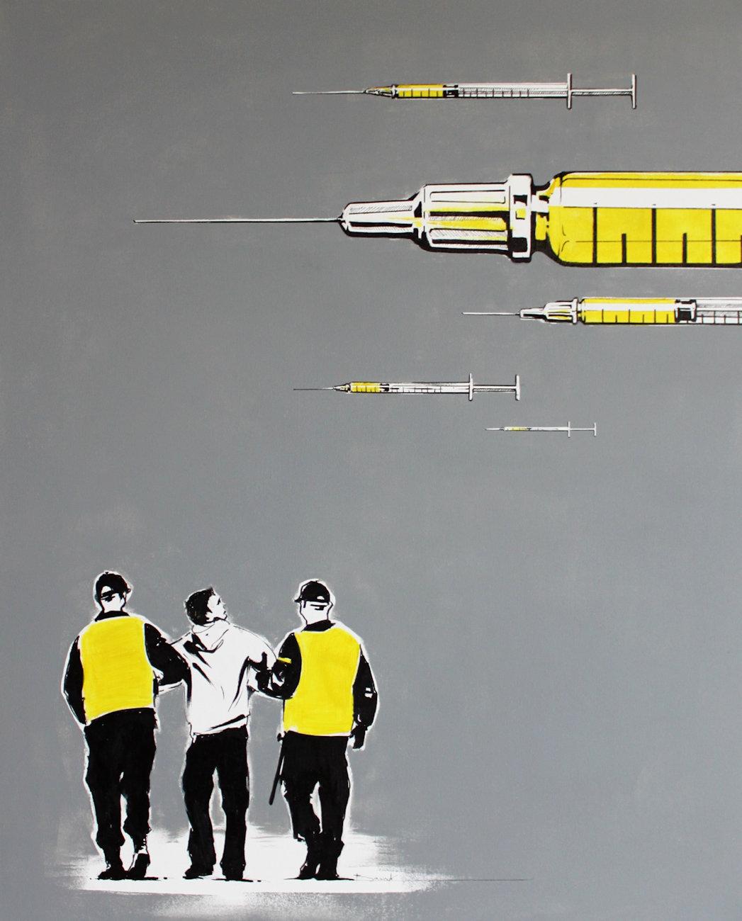 """""""Pandemia"""" akryl + flamaster na płótnie 81x65, 2012"""